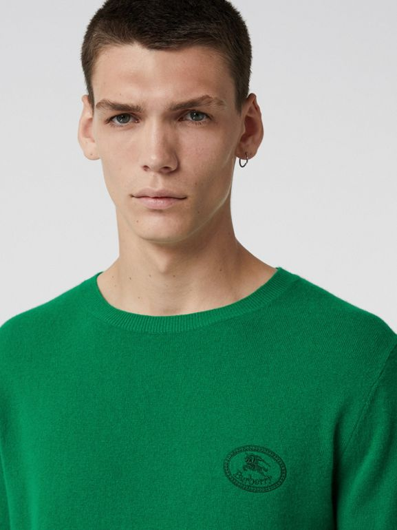 Embroidered Archive Logo Cashmere Sweater in Bright Green - Men | Burberry - cell image 1