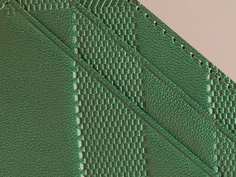 Bright forest green Check Embossed Leather Card Case Bright Forest Green - cell image 1