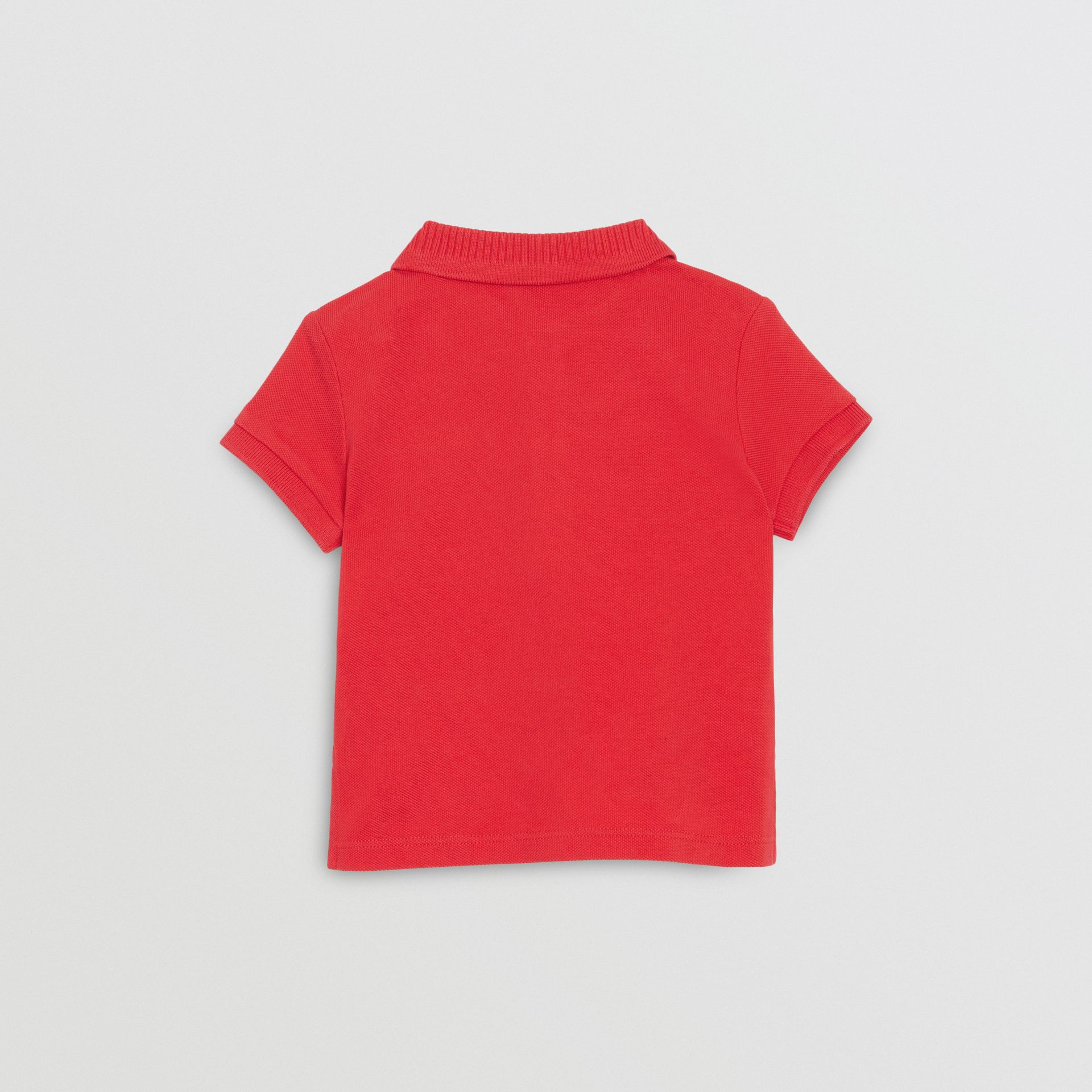 EKD Logo Cotton Piqué Polo Shirt in Bright Red - Children | Burberry - gallery image 3
