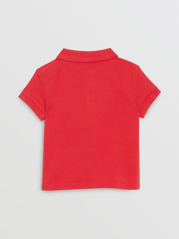EKD Logo Cotton Piqué Polo Shirt in Bright Red - Children | Burberry United Kingdom - cell image 3