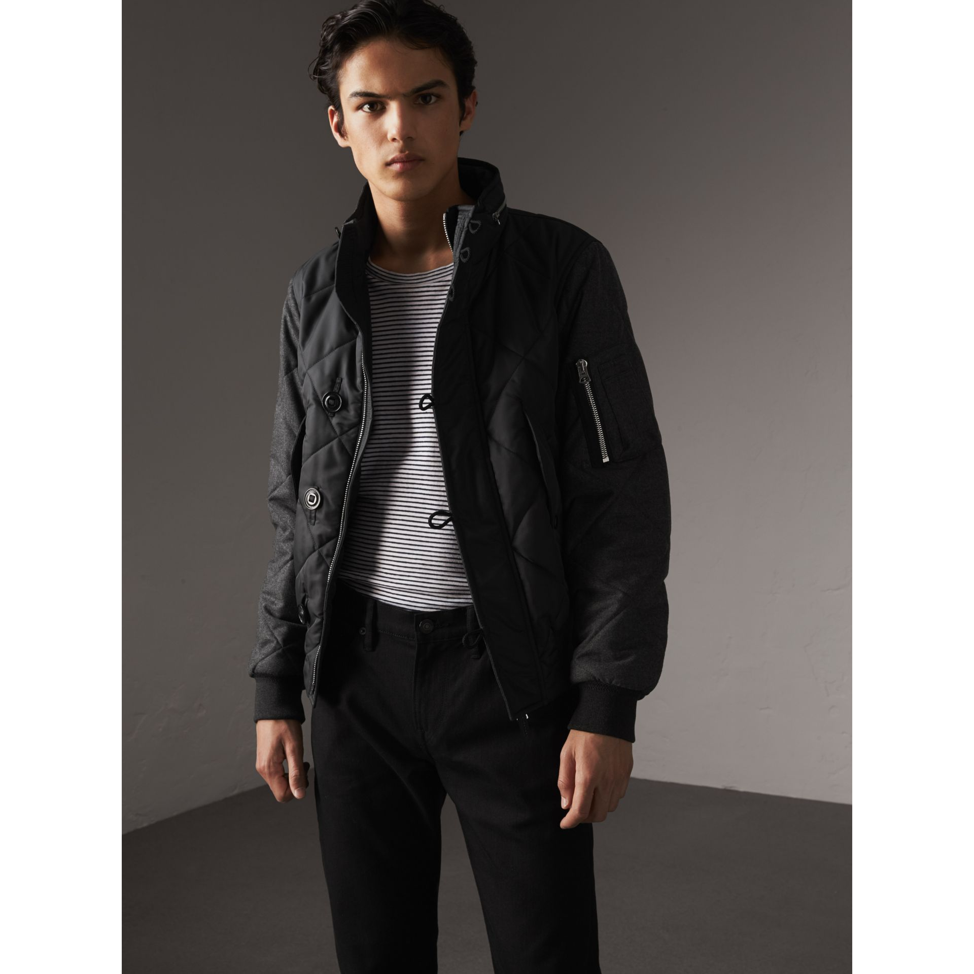 Packaway Hood Wool-sleeve Quilted Bomber Jacket in Black - Men | Burberry - gallery image 6
