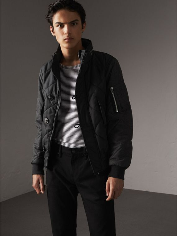 Packaway Hood Wool-sleeve Quilted Bomber Jacket - Men | Burberry Singapore