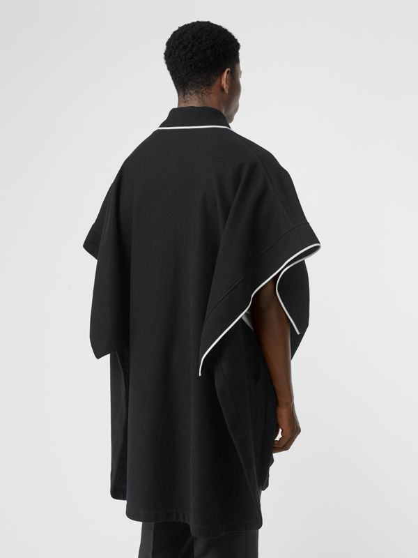 Monogram Motif Cotton Piqué Poncho in Black | Burberry - cell image 2