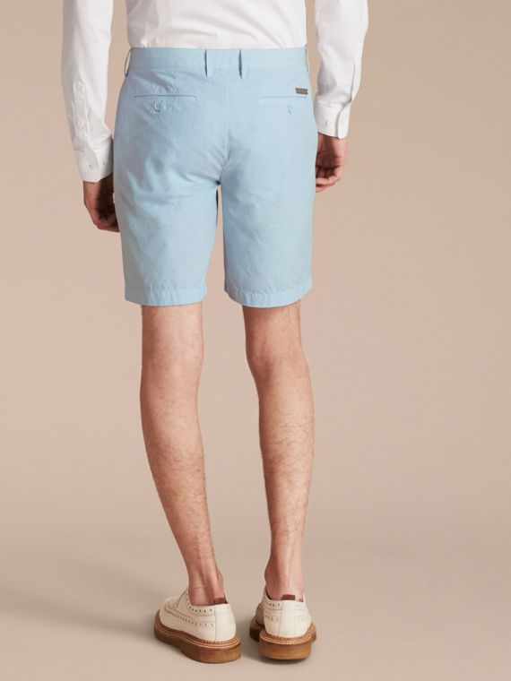 Cotton Poplin Chino Shorts Pale Opal Blue - cell image 2