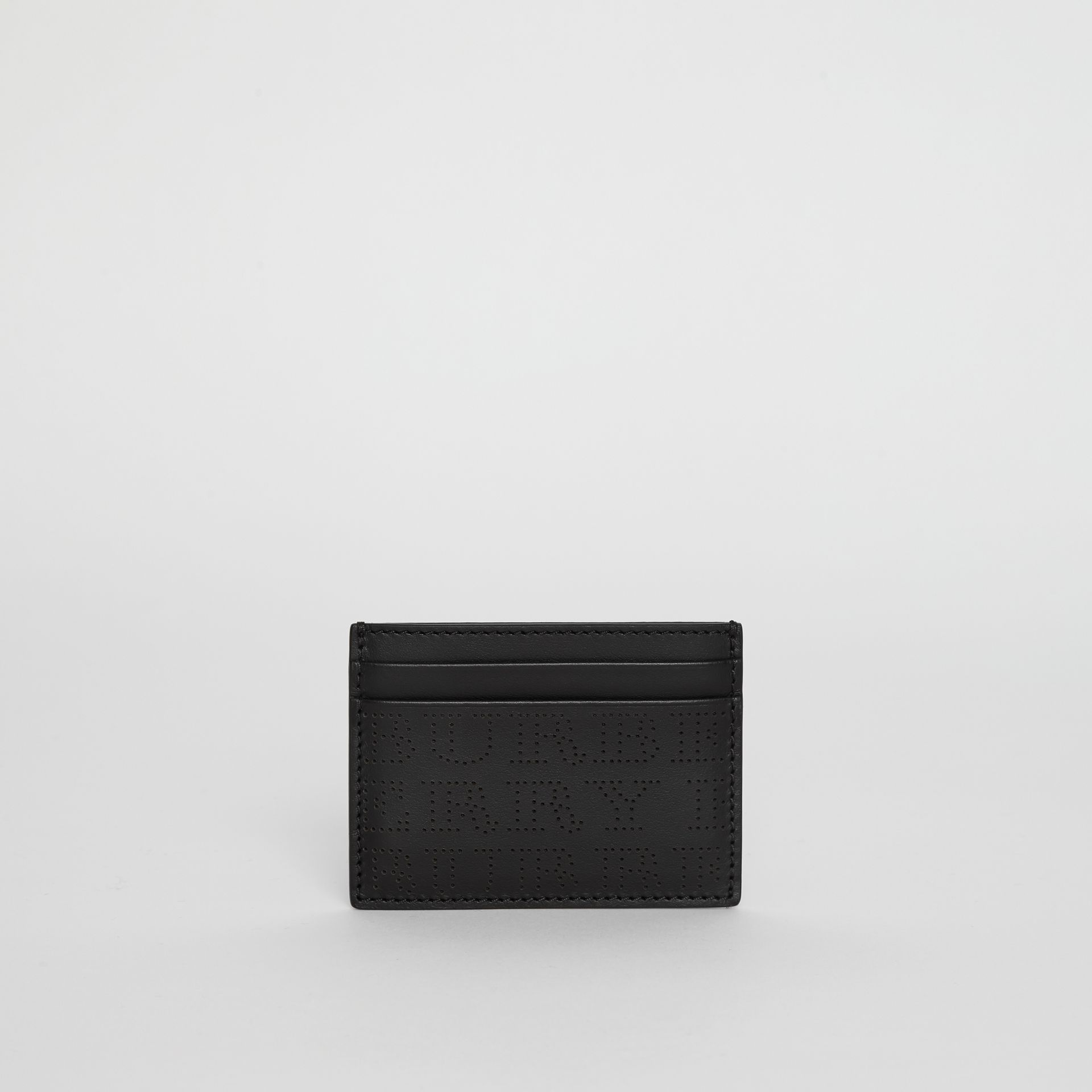 Perforated Logo Leather Card Case in Black - Men | Burberry - gallery image 2