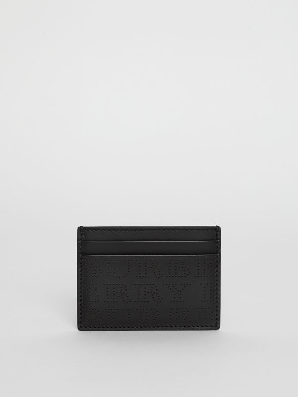 Perforated Logo Leather Card Case in Black - Men | Burberry - cell image 2