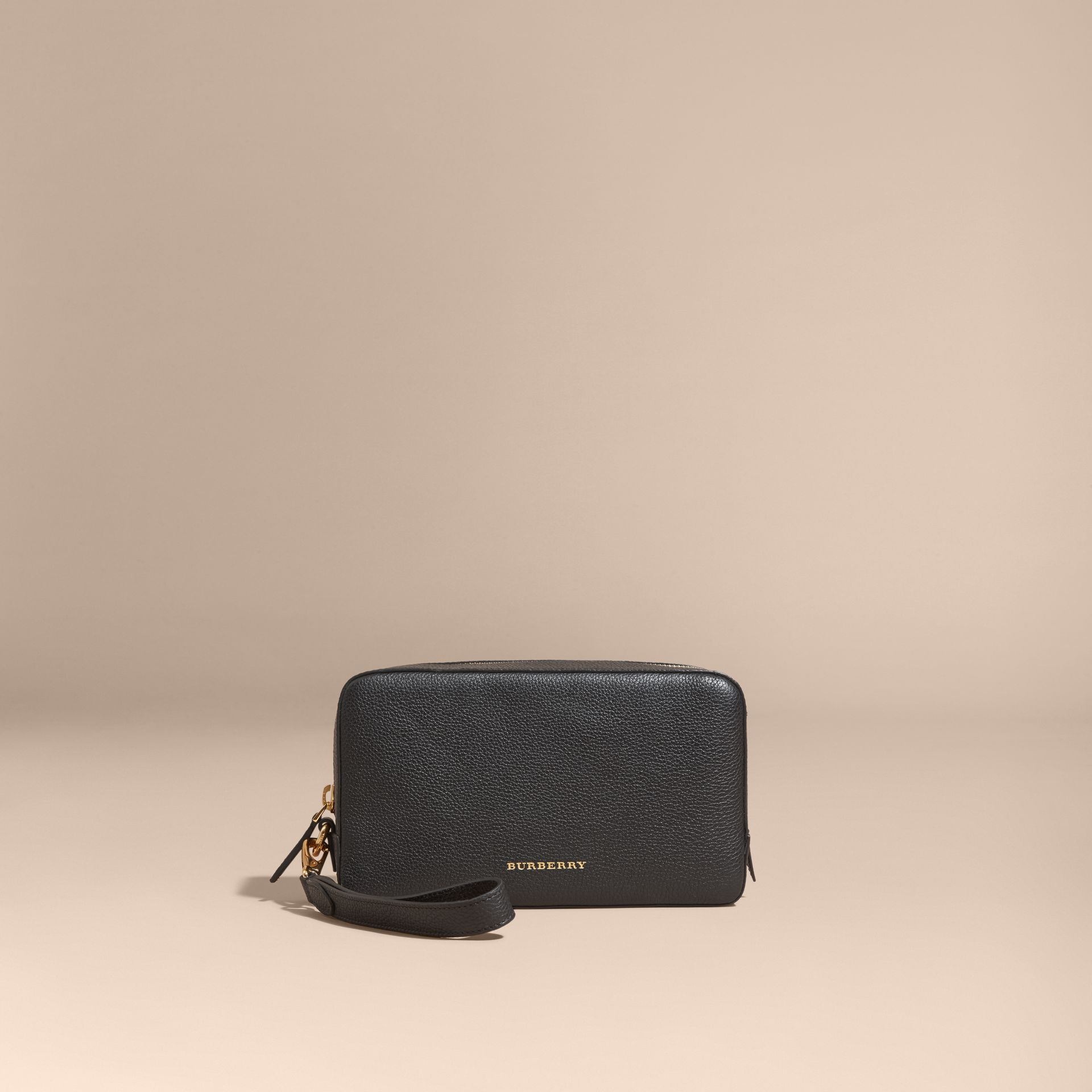 Black Grainy Leather Washbag - gallery image 6