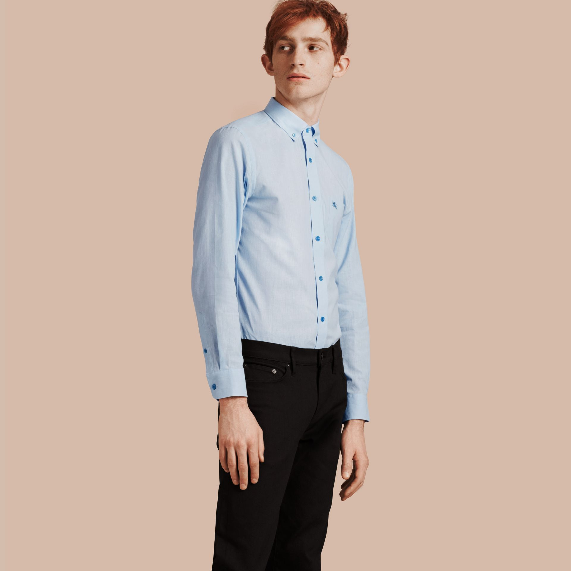Pale blue Button-down Collar Cotton Linen Shirt Pale Blue - gallery image 1