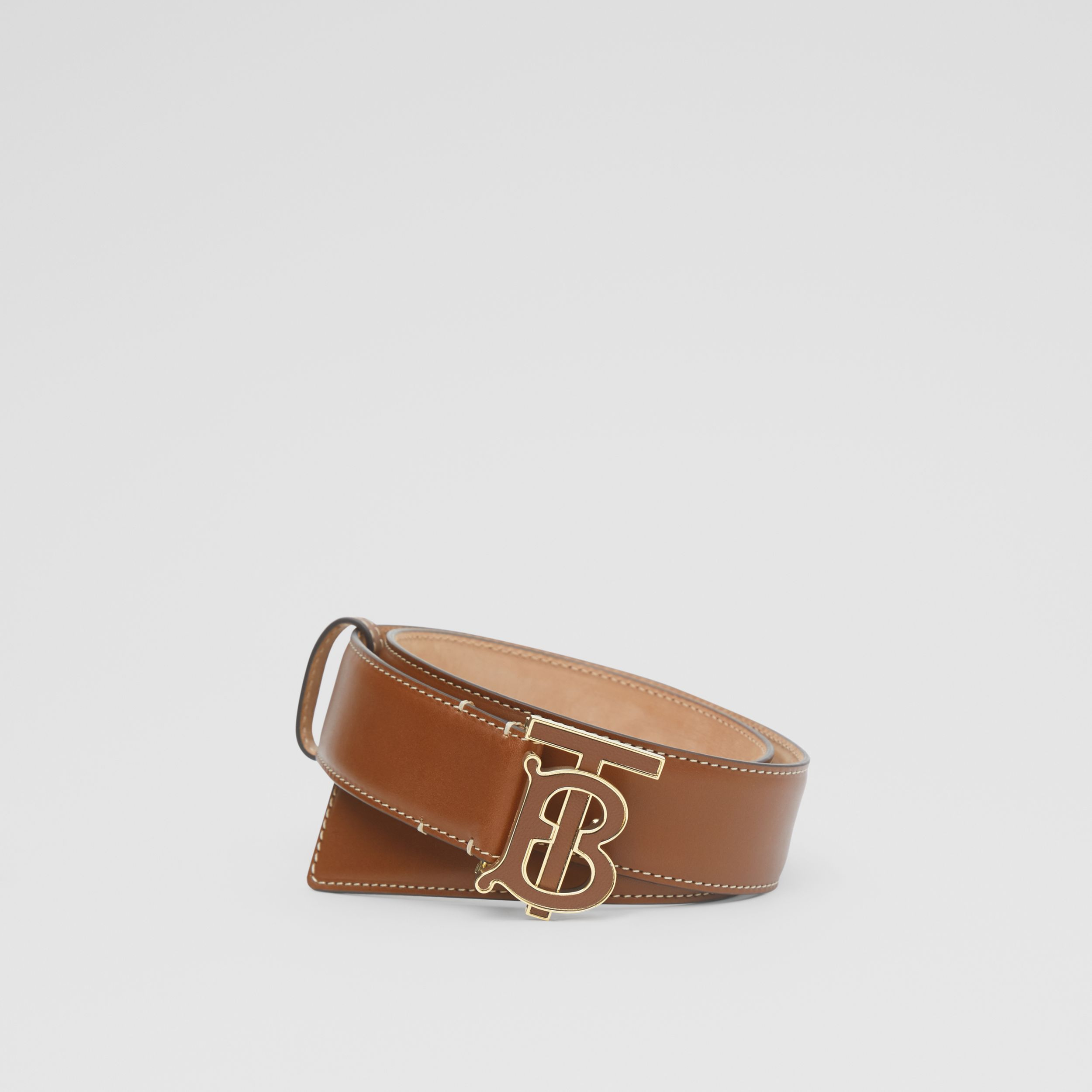 Monogram Motif Leather Belt in Tan | Burberry - 1