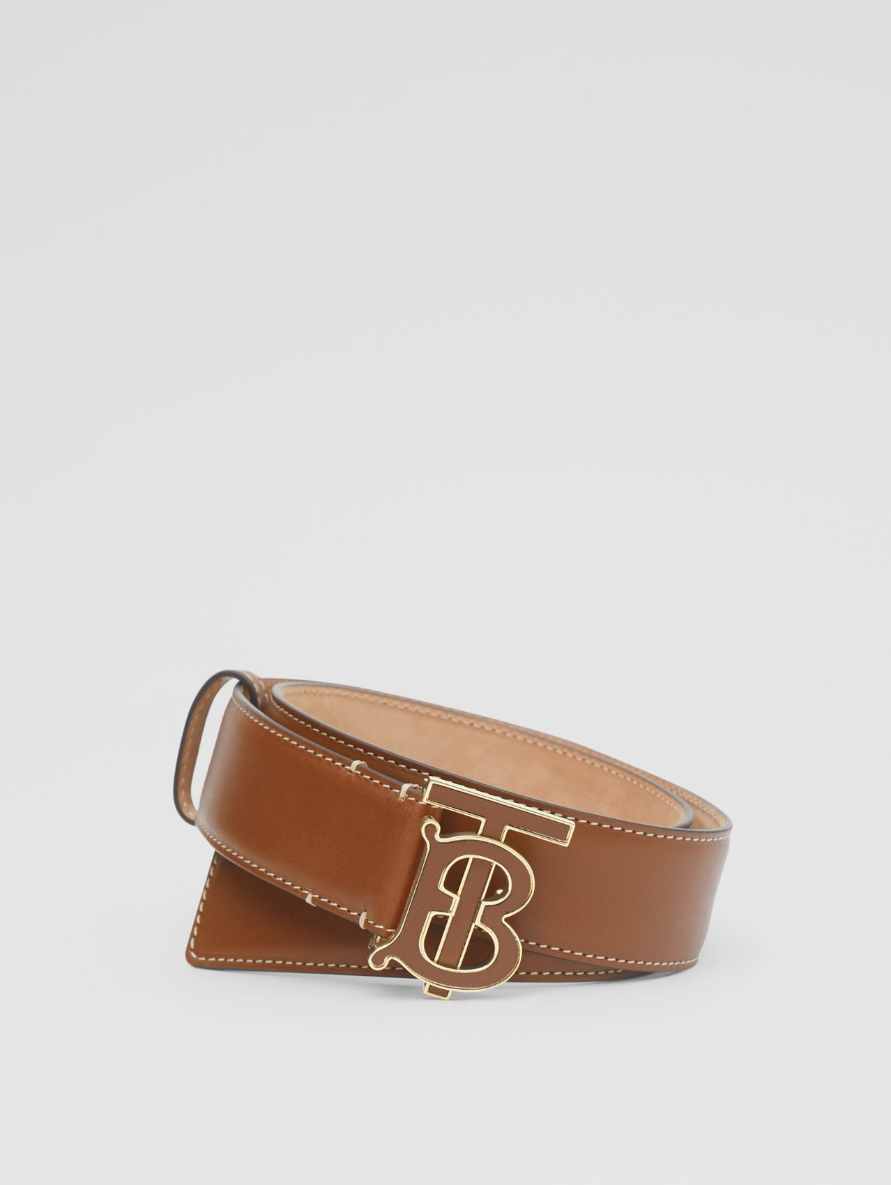 Monogram Motif Leather Belt in Tan