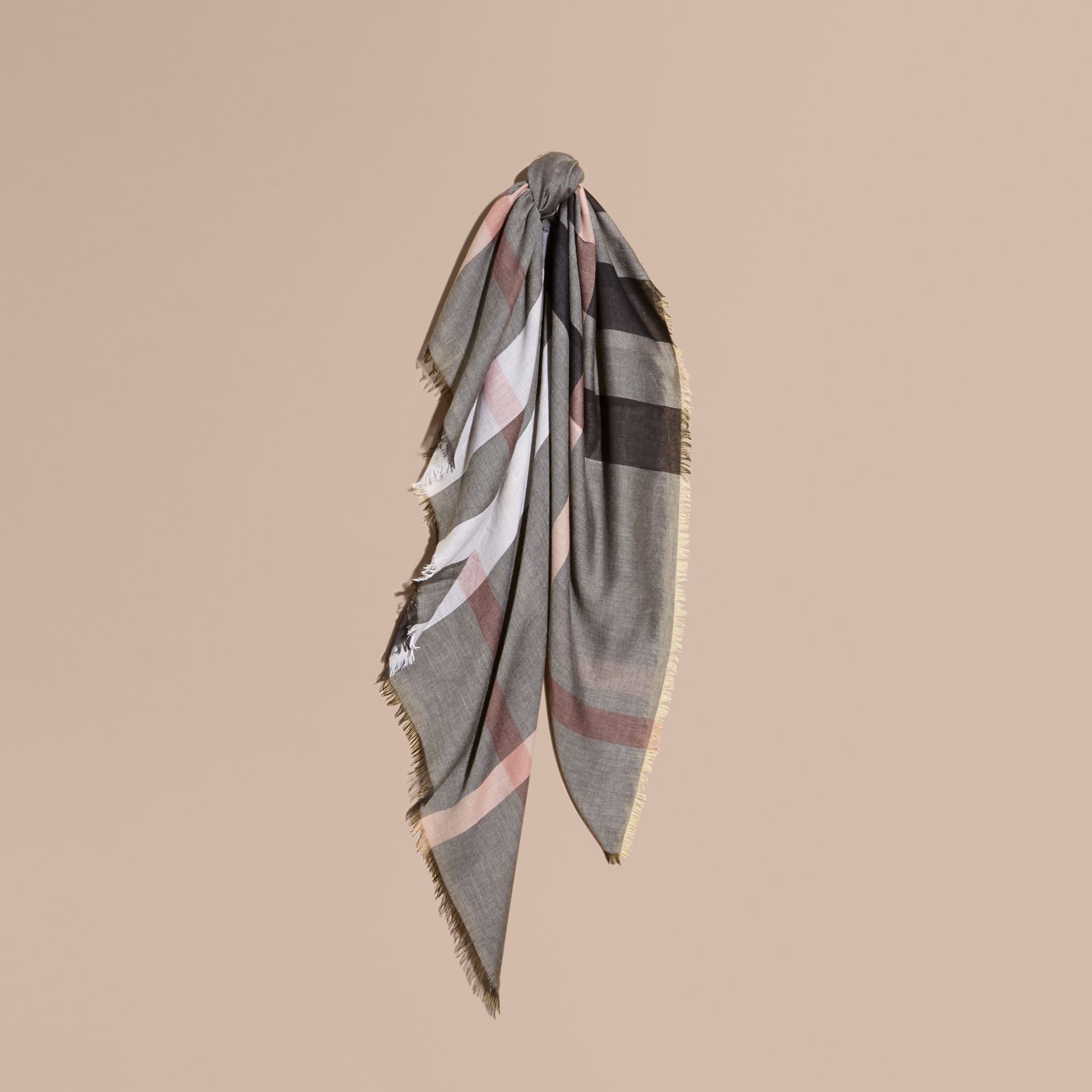 Check Modal and Wool Square Scarf in Dark Trench - Women | Burberry United Kingdom - gallery image 1