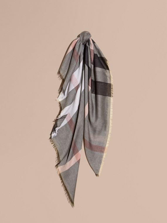 Check Modal and Wool Square Scarf in Dark Trench