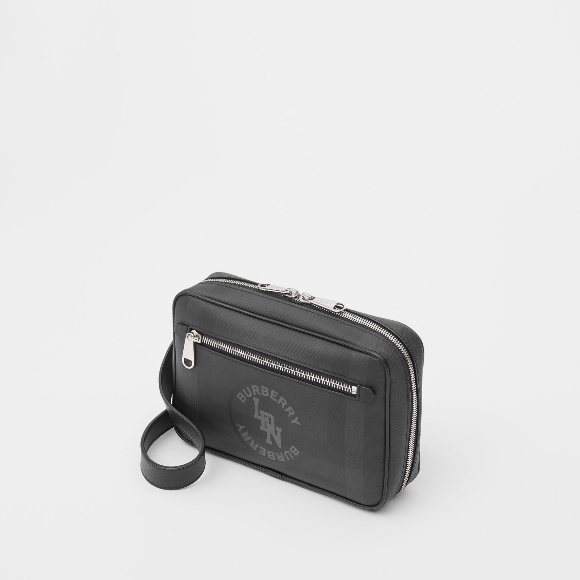 Logo Graphic London Check Crossbody Bag in Dark Charcoal - Men | Burberry United Kingdom - gallery image 3