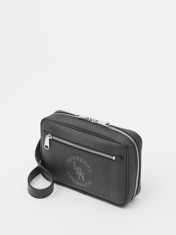 Logo Graphic London Check Crossbody Bag in Dark Charcoal - Men | Burberry United Kingdom - cell image 3