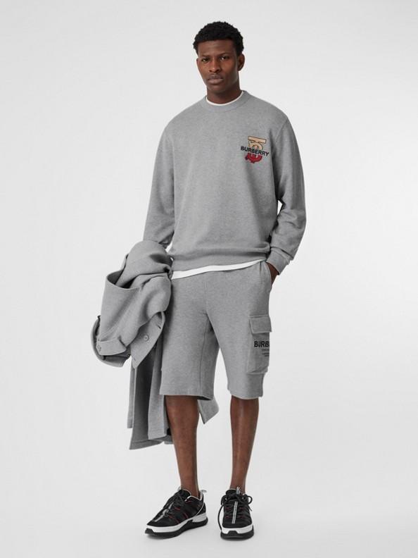 Baumwollsweatshirt mit Monogrammmotiv (Hellgrau Meliert)