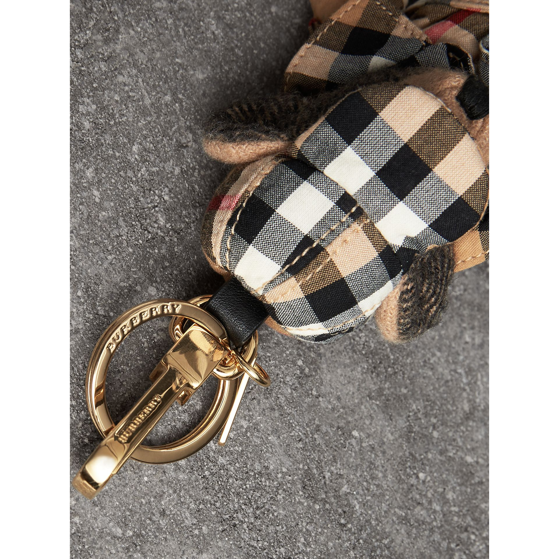 Thomas Bear Charm in Vintage Check Trench Coat in Camel | Burberry United States - gallery image 2