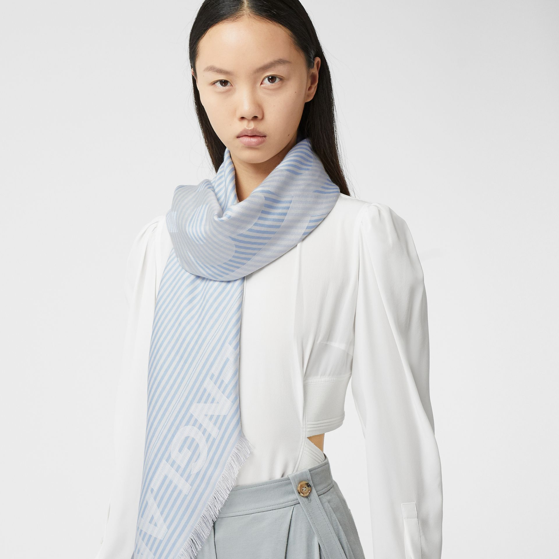 Striped Logo Silk Wool Jacquard Large Square Scarf in Pale Blue | Burberry - gallery image 2
