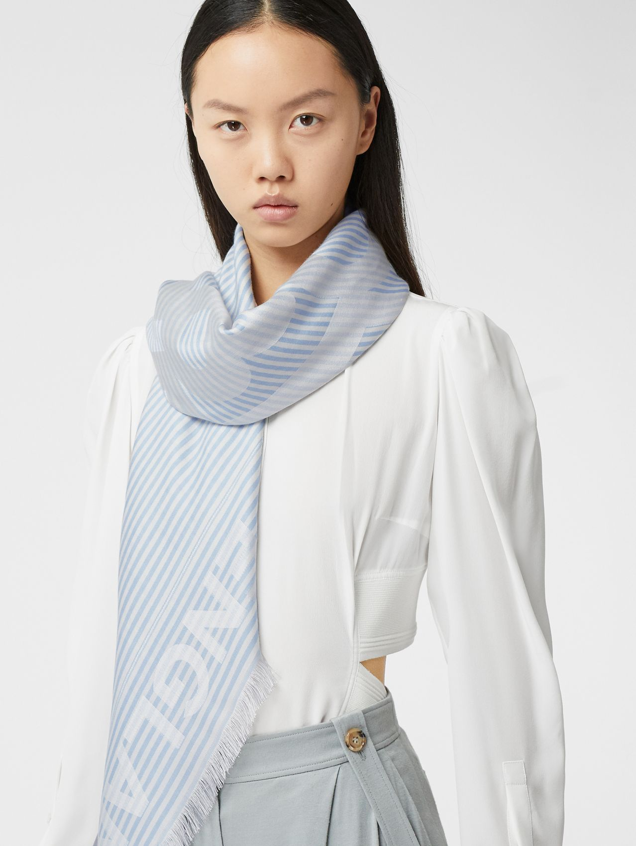 Striped Logo Silk Wool Jacquard Large Square Scarf in Pale Blue
