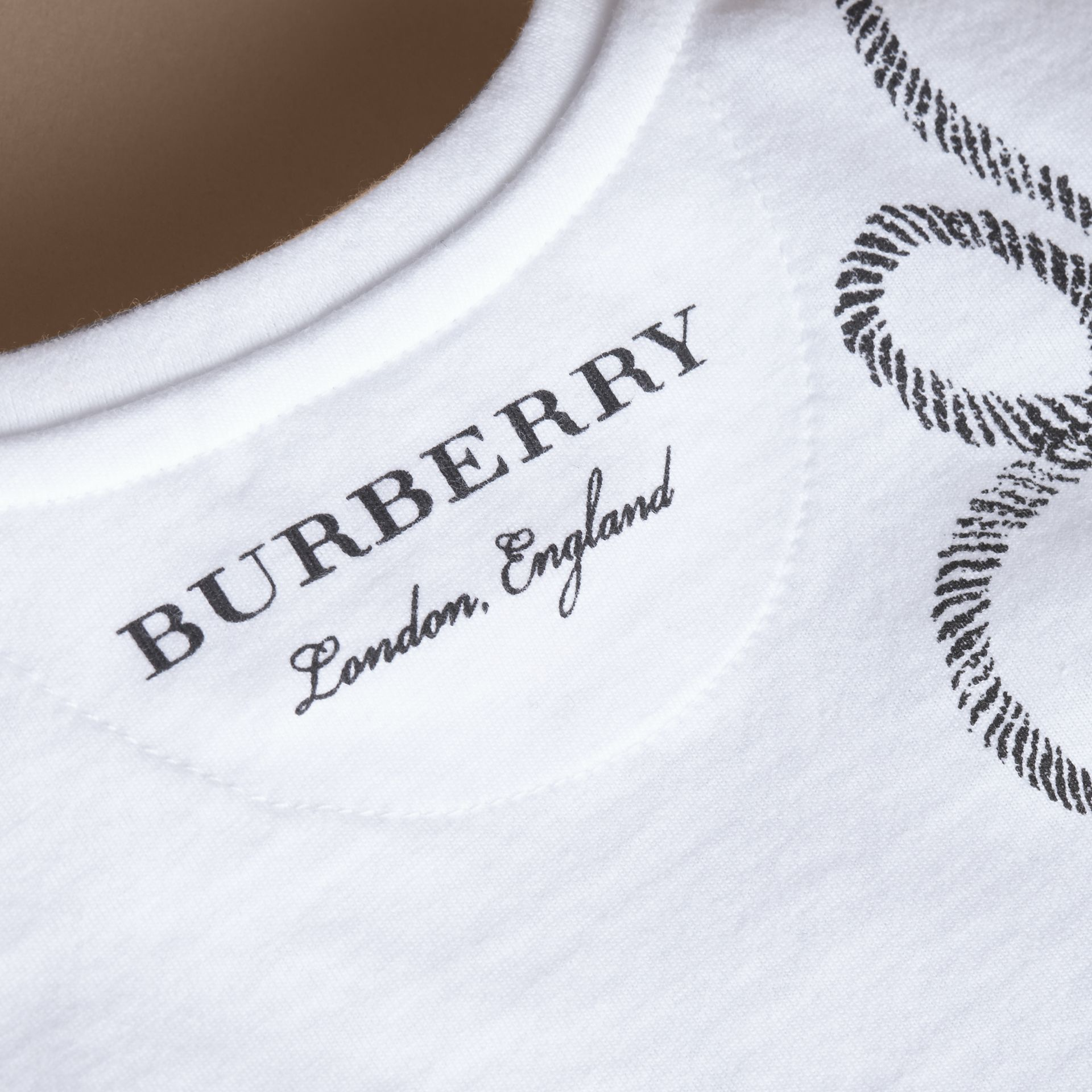 Hooked Heart Motif Cotton T-shirt in White | Burberry - gallery image 2
