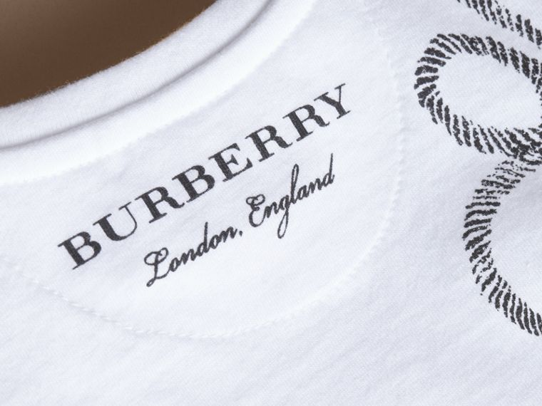 Hooked Heart Motif Cotton T-shirt in White | Burberry - cell image 1