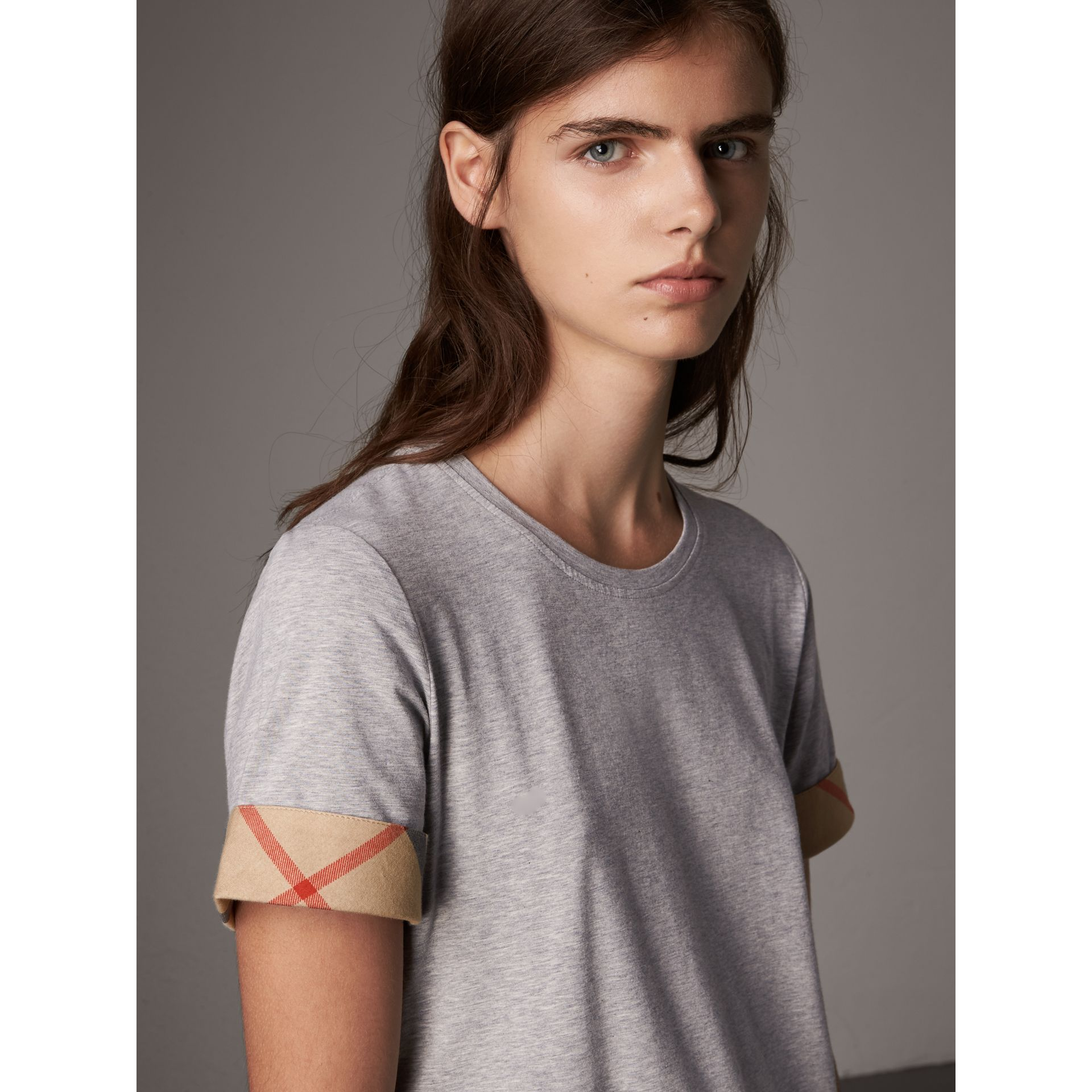 Check Cuff Stretch Cotton T-Shirt in Pale Grey Melange - Women | Burberry Canada - gallery image 2
