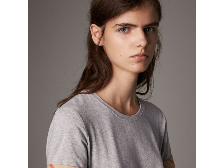 Check Cuff Stretch Cotton T-Shirt in Pale Grey Melange - Women | Burberry Canada - cell image 1