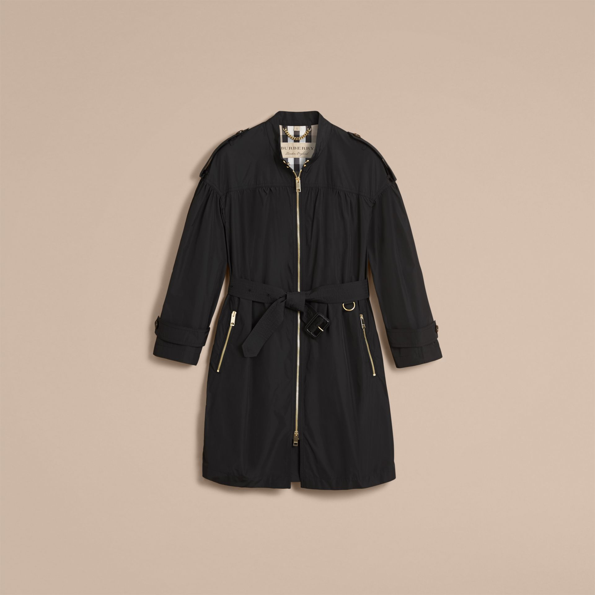 Lightweight Ruched Coat in Black - Women | Burberry - gallery image 4