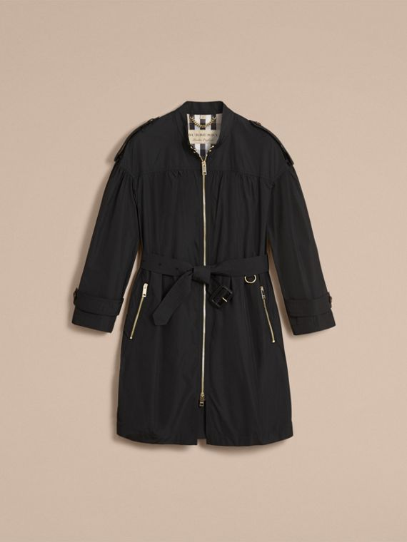 Lightweight Ruched Coat in Black - Women | Burberry - cell image 3