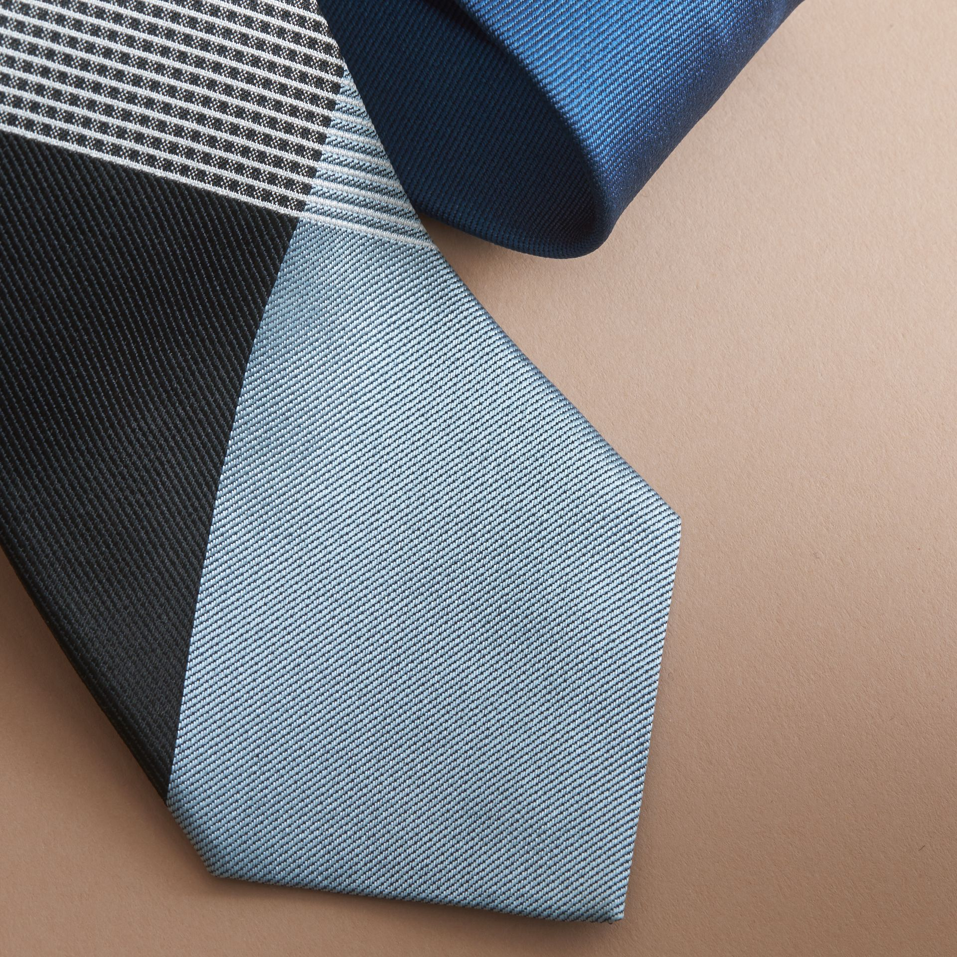 Modern Cut Gingham Check Silk Twill Jacquard Tie in Brilliant Navy - Men | Burberry - gallery image 1