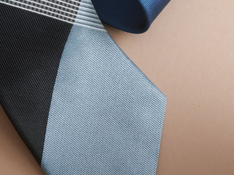 Modern Cut Gingham Check Silk Twill Jacquard Tie in Brilliant Navy - Men | Burberry - cell image 1