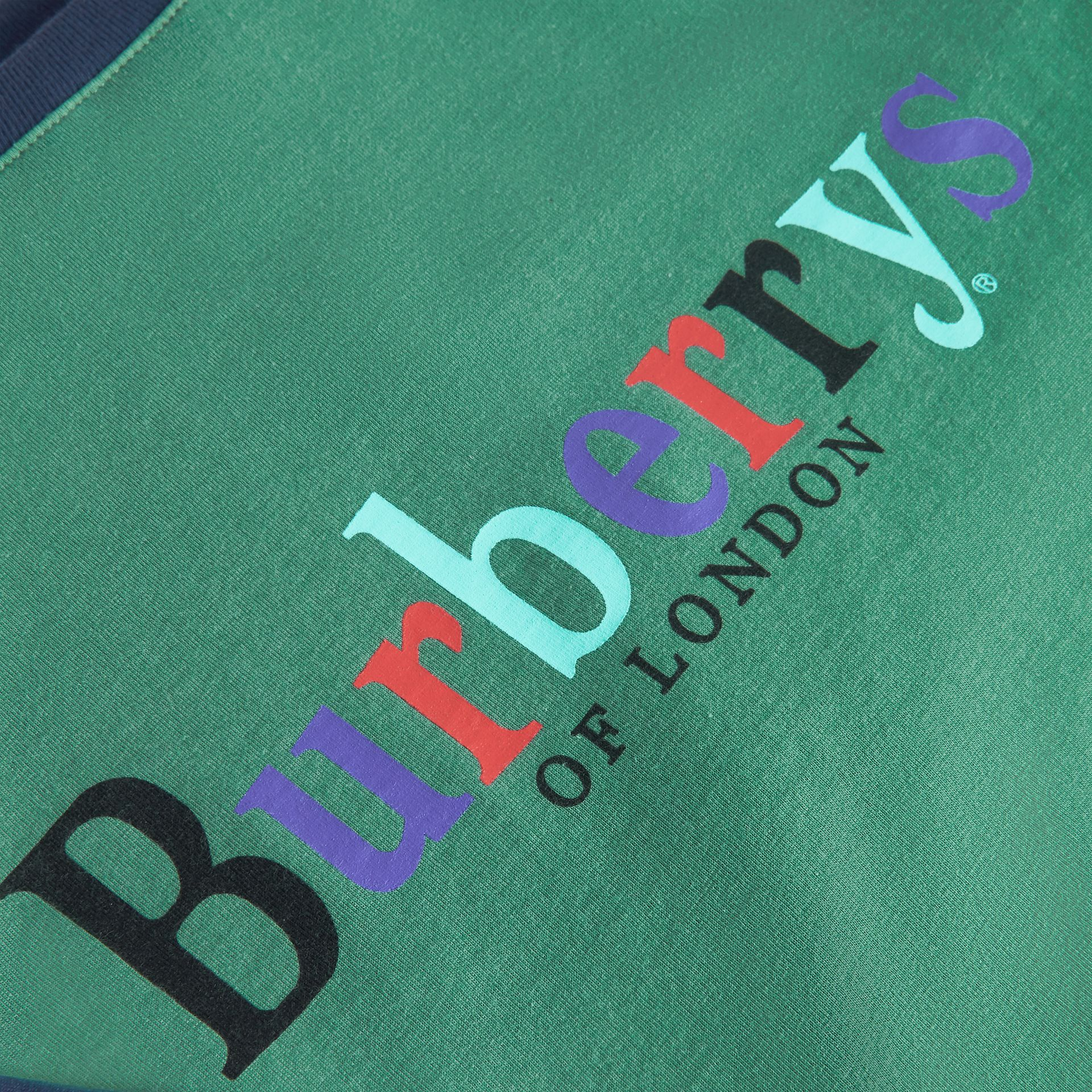 Archive Logo Print Two-tone Cotton Top in Bright Pigment Green | Burberry - gallery image 1