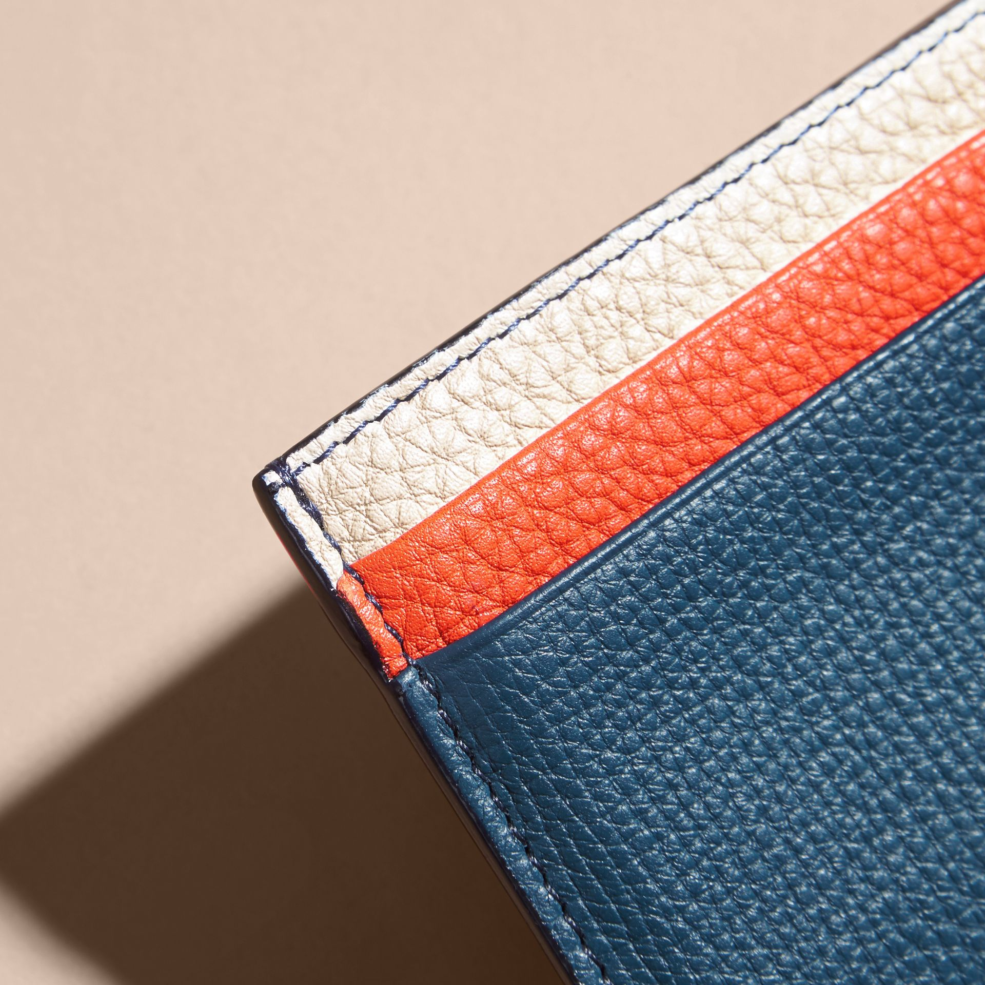 Colour Block Leather Card Case Marine Blue - gallery image 2