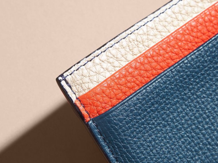 Marine blue Colour Block Leather Card Case - cell image 1