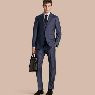 Steel blue modern fit travel tailoring sharkskin wool three piece suit