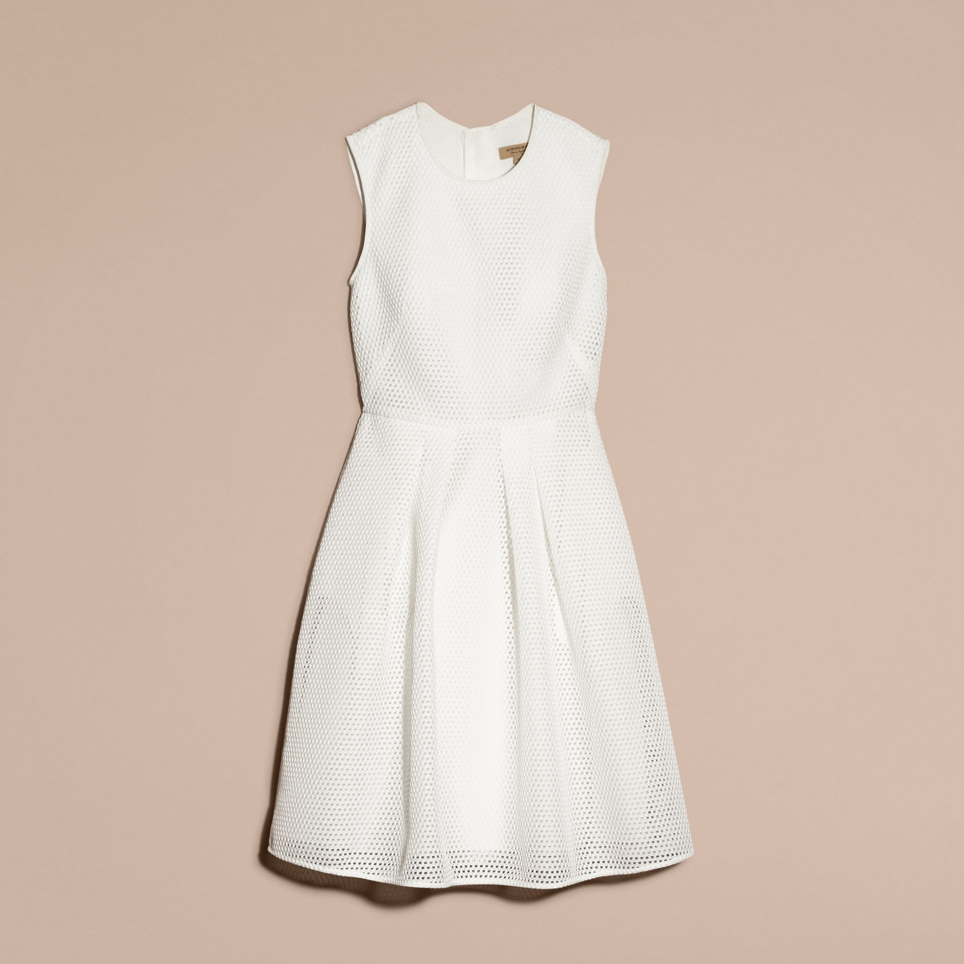 White Mesh Fit and Flare Dress - gallery image 4