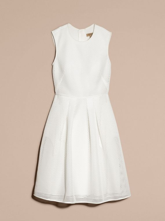 White Mesh Fit and Flare Dress - cell image 3