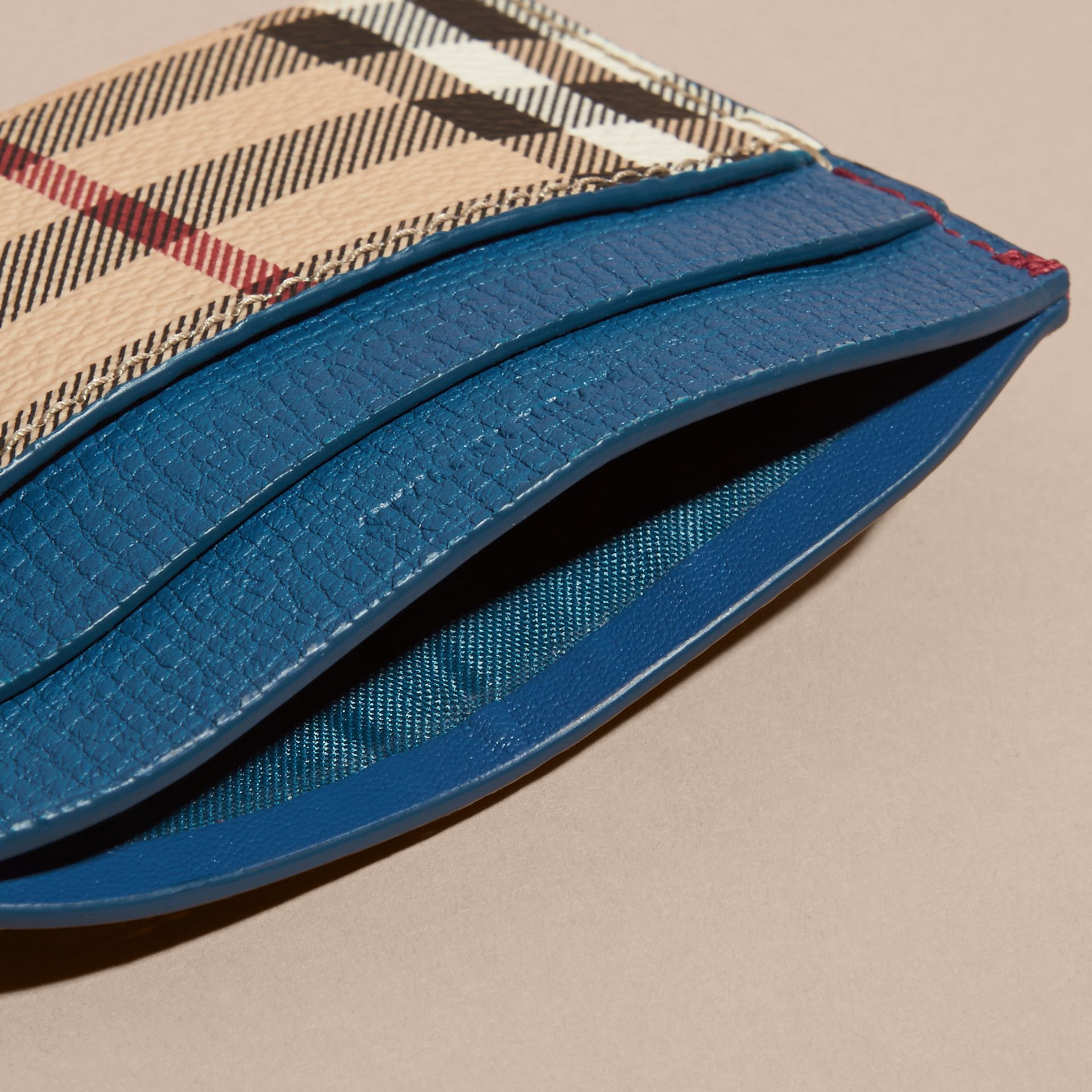 Haymarket Check and Leather Card Case Mineral Blue - gallery image 5