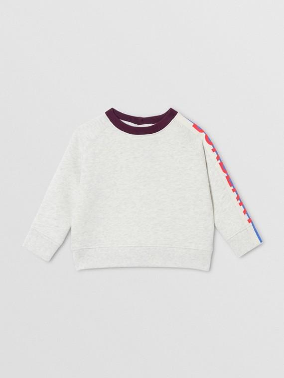 Logo Print Jersey Sweatshirt in White Melange