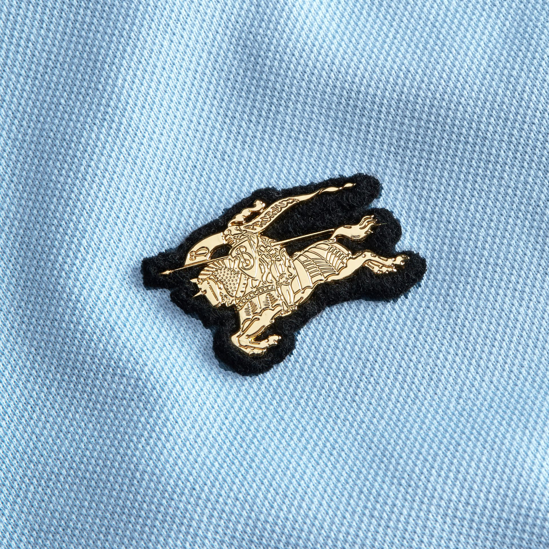 Fitted Mercerised Cotton-Piqué Polo Shirt Powder Blue - gallery image 2