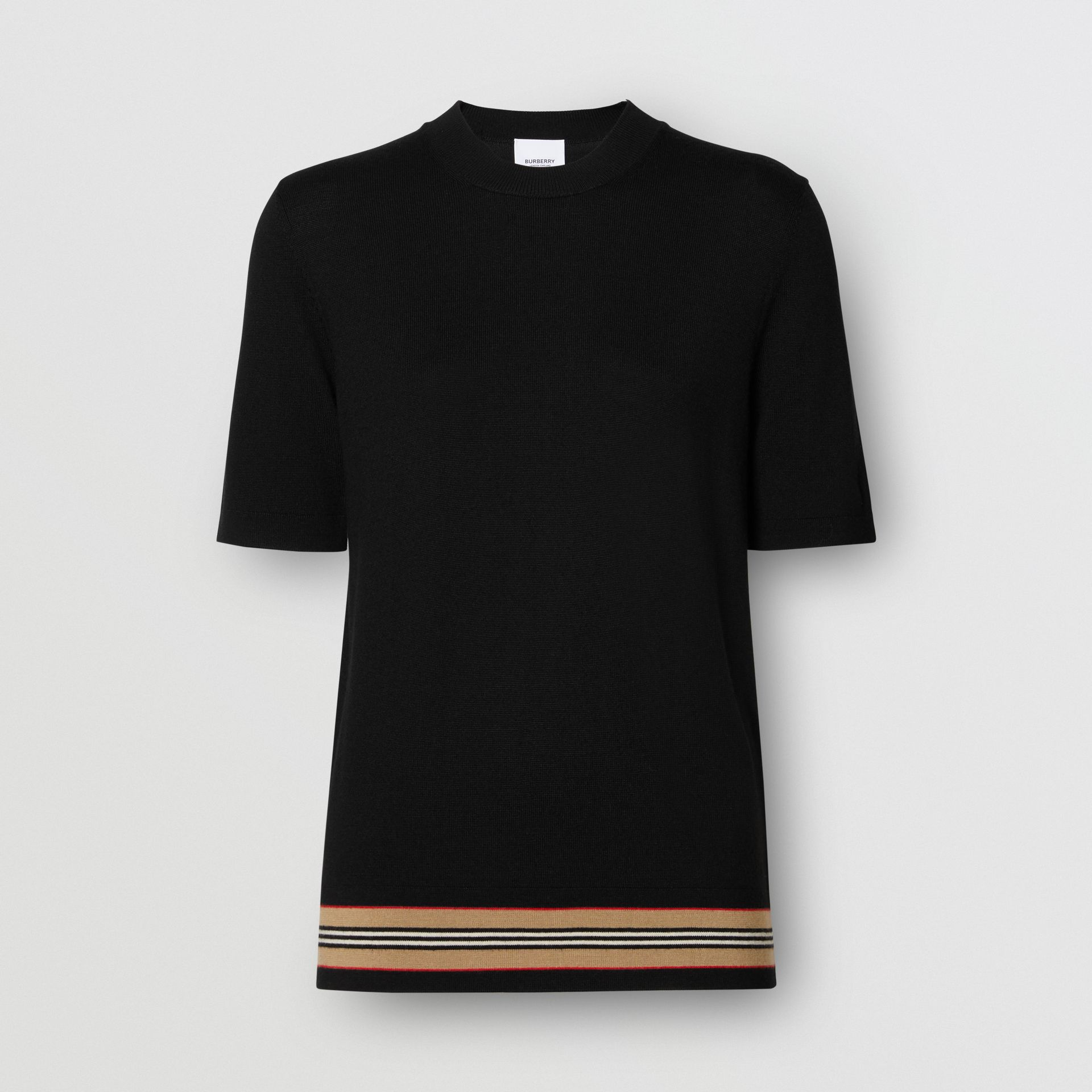 Short-sleeve Icon Stripe Detail Merino Wool Top in Black - Women | Burberry United Kingdom - gallery image 3