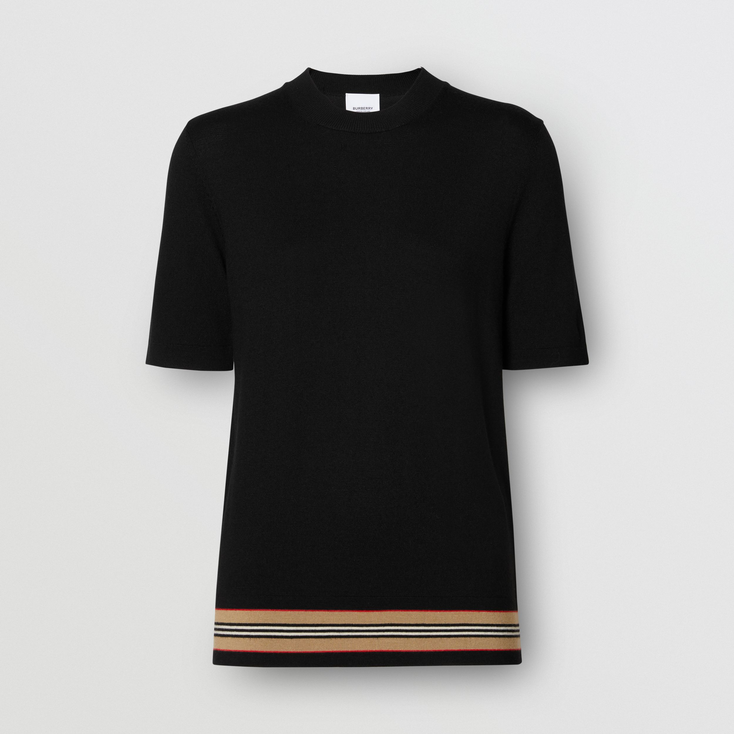 Short-sleeve Icon Stripe Detail Merino Wool Top in Black - Women | Burberry - 4
