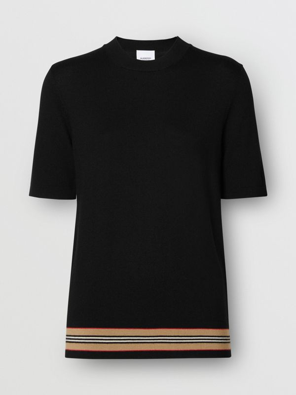 Short-sleeve Icon Stripe Detail Merino Wool Top in Black - Women | Burberry - cell image 3