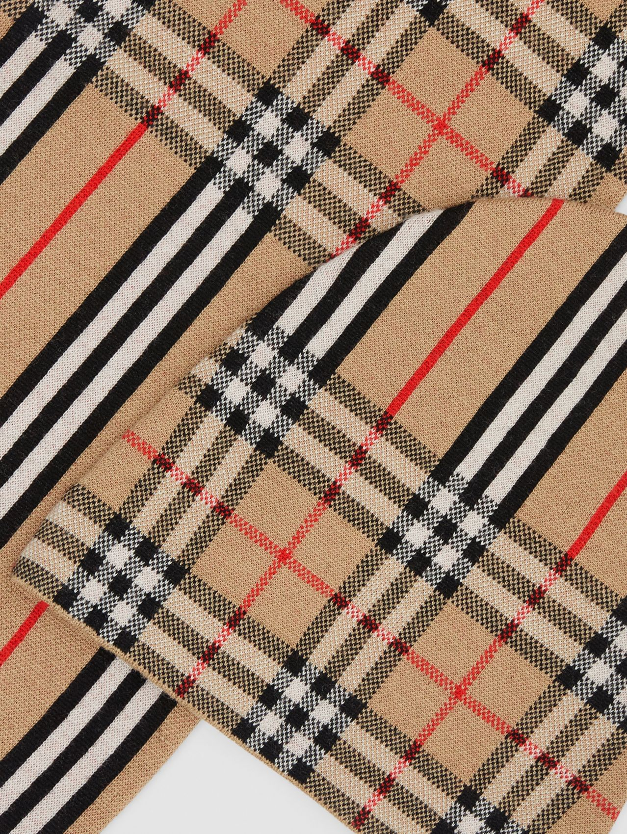 Vintage Check and Icon Stripe Wool Two-piece Gift Set in Archive Beige