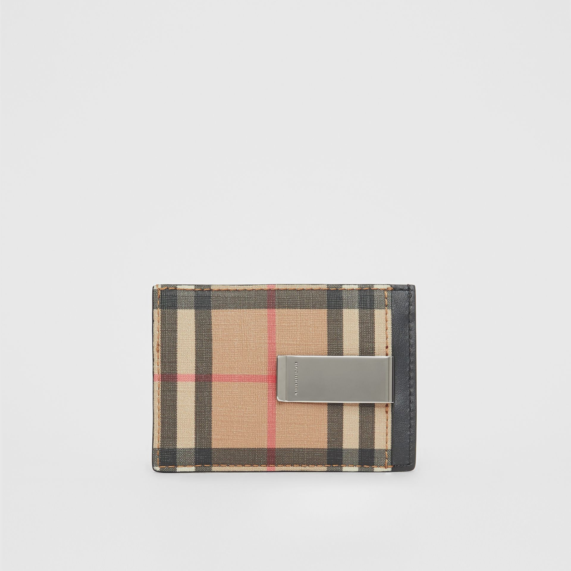 Vintage Check and Leather Money Clip Card Case in Archive Beige - Men | Burberry - gallery image 4