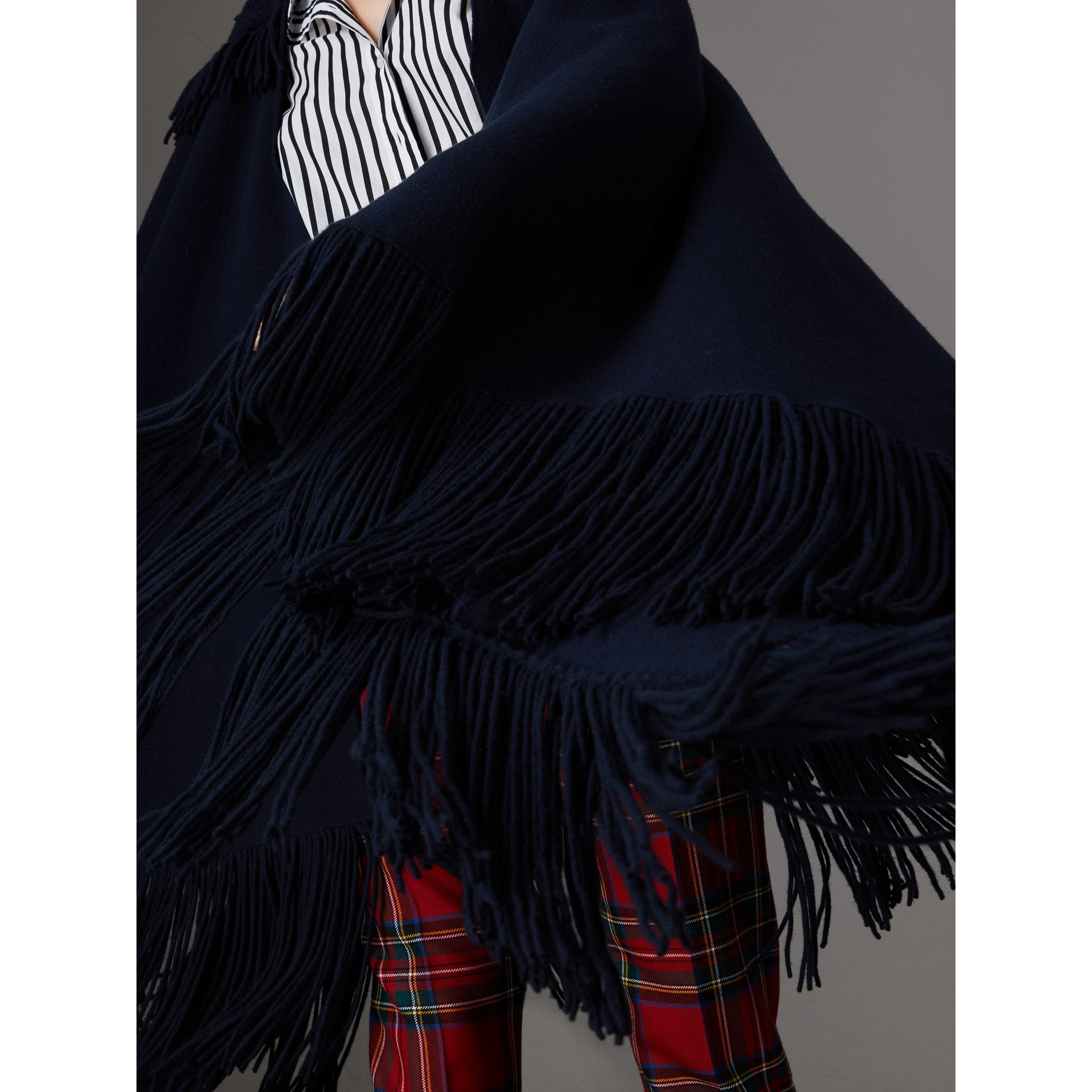 Fringed Wool Cashmere Blend Poncho in Navy - Women | Burberry Australia - gallery image 2