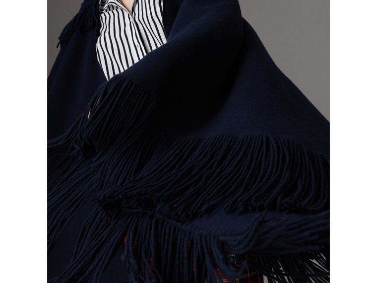 Fringed Wool Cashmere Blend Poncho in Navy - Women | Burberry Australia - cell image 1