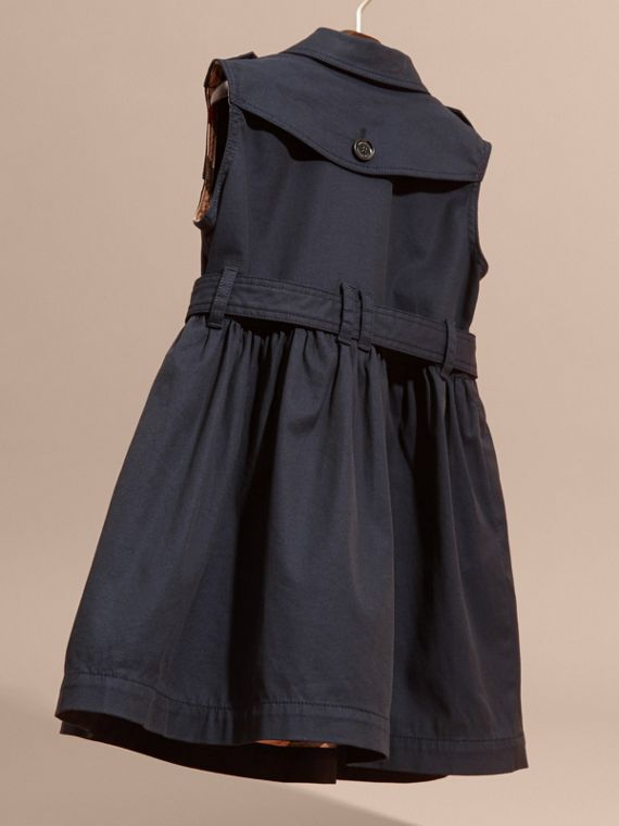 Navy Stretch Cotton Sleeveless Trench Dress - cell image 3