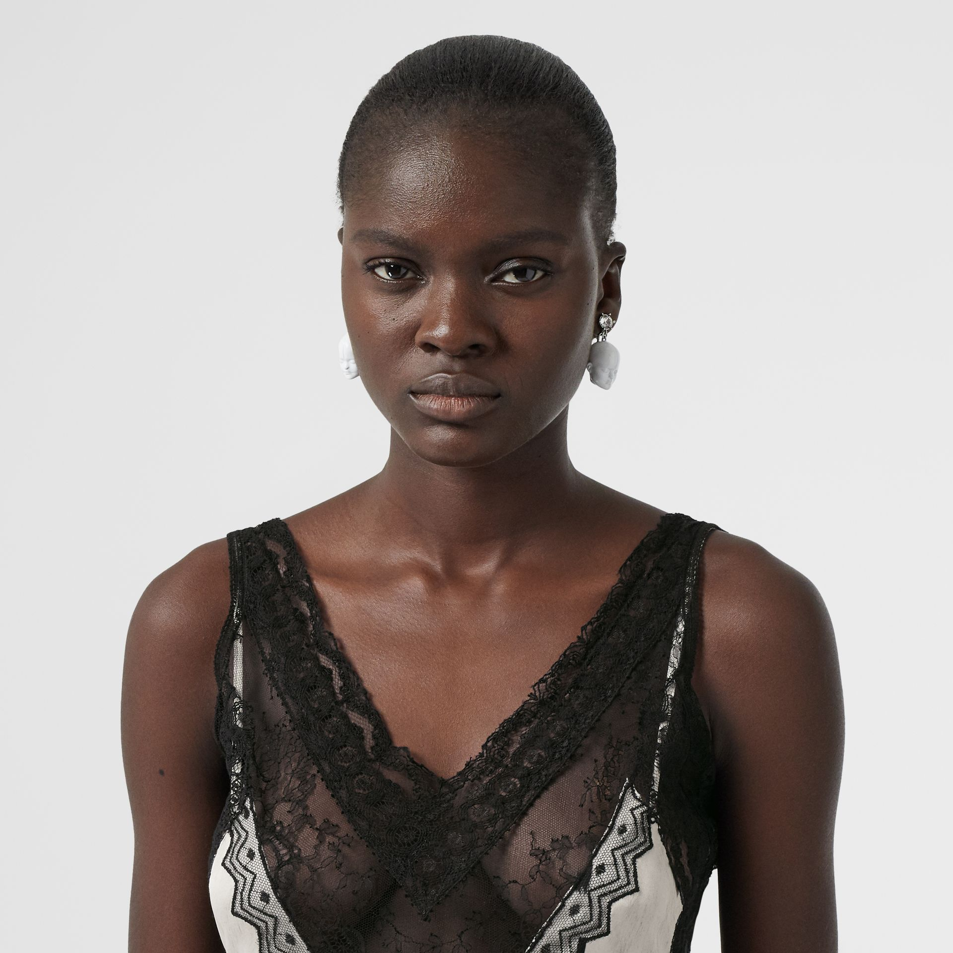 Lace Panel Animal Print Slip Dress in Black/white - Women | Burberry - gallery image 1