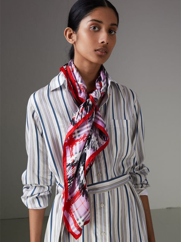 Scribble Check Silk Square Scarf in Fuchsia Pink | Burberry United Kingdom - cell image 3