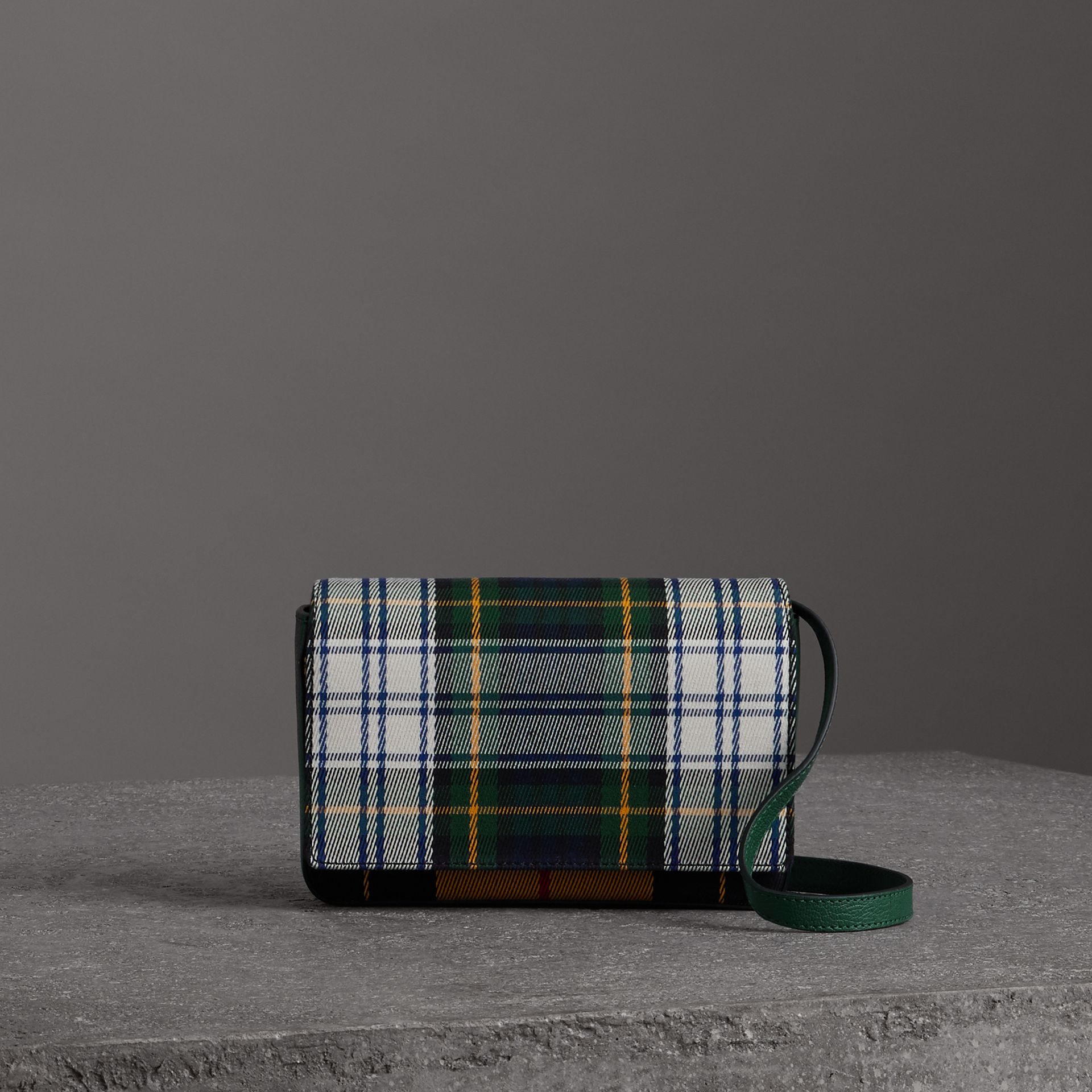 Tartan and Leather Wallet with Detachable Strap in Green/multicolour - Women | Burberry Australia - gallery image 0